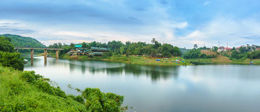 Panorama scene of Songkhalia Resort, Sangkhla Buri in evening. Royalty Free Stock Photography