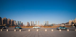 Panorama scene at Xinghai Square, Dalian, China. Stock Photo