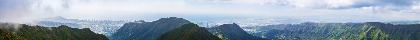Panorama of scenery from central Oahu Royalty Free Stock Photography