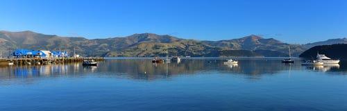 Panorama of the scenic bays at Akaroa, Banks Peninsula Royalty Free Stock Photos