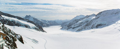 Panorama Scenic of Great Aletsch Glacier. Jungfrau region stock photography