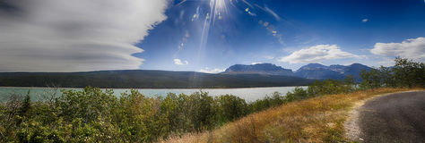 Panorama of a scenic landscape in Glacier National Park Royalty Free Stock Images