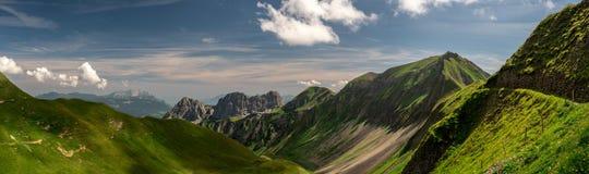 Panorama scenic mountain view during summer sunny day in the swiss alps, ridge walk brienzer rothorn. Hohenweg royalty free stock image