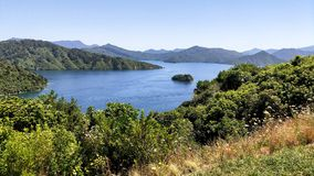 Panorama of Scenic Queen Charlotte sound and bay from a hill top. Marlborough. New Zealand royalty free stock photography