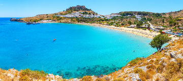 Panorama of scenic Rhodes island, Lindos bay. Rhodes Greece. Panorama scenic Rhodes island, Lindos bay Greece Royalty Free Stock Image