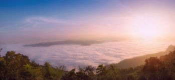 Panorama,Scenic views of the mist on the doi samer dao atmosphere in the morning, doi samer dao. Is famous in Nan, Thailand. Tourists come overnight, watch the royalty free stock photo