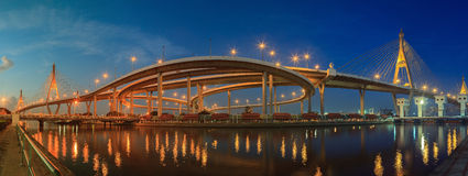 Panorama scening of bhupibol bridge and ladphoe water gate impor Royalty Free Stock Photography