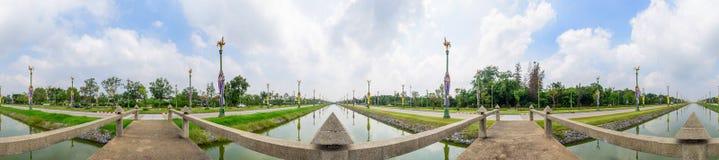 Panorama 360 schöne Utthayan-Straße stockbilder