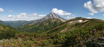Panorama: schilderachtige mening van Viliuchinsky-Vulkaan kamchatka stock afbeeldingen