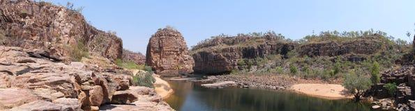 Panorama - Schmiedsfelsen, Nationalpark Nitmiluk, Nordterritorium, Australien Stockbilder