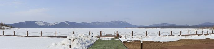 Panorama Schuchye Lake in National Park Burabay Stock Images