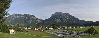 Panorama Schwangau. Scenic view of Schwangau village with mountains in background, Bavaria, Germany Royalty Free Stock Photography