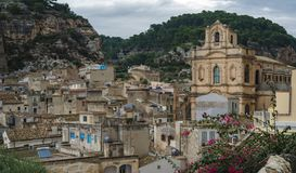 Panorama of Scicli - a fascinating and beautiful town built in a style of Sicilian Baroque. stock photos