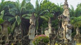 Panorama in sculpture Buddha Park (Xieng Khuan). Laos, Vientiane stock footage