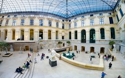 Panorama of Sculpture hall of the Louvre museum, Paris, France royalty free stock image