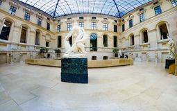 Panorama of Sculpture hall of the Louvre museum, Paris, France stock photography