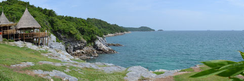 Panorama of the sea. In Thailand Stock Photos