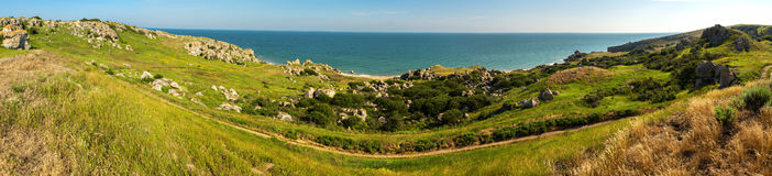 Panorama Sea of Azov at Karalar regional landscape park in Crimea. Panorama Sea of Azov at Karalar regional landscape park in the Crimea Stock Photo