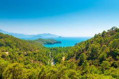 Panorama of the sea bay and mountains Royalty Free Stock Images