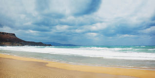 Panorama sea, beach and stormy Royalty Free Stock Photo