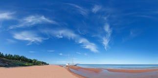 Panorama sea beach with yacht. Stock Photo