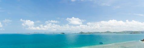 Panorama sea and blue sky in summer at sattahip chonburi thailand Stock Image