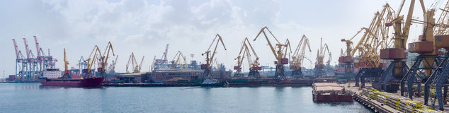 Panorama of sea cargo port Stock Photos