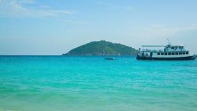 Panorama of sea coast with ships. Thailand, Similan stock video