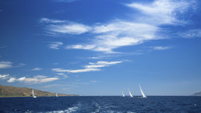 Panorama of the sea with group yacht sailing and beautiful blue sky. Nature. stock photos