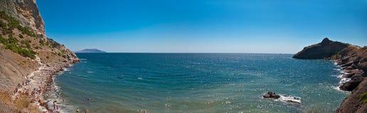 Panorama of sea gulf in crimea Stock Photo