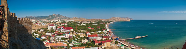 Panorama of sea gulf in sudak, crimea Royalty Free Stock Photography