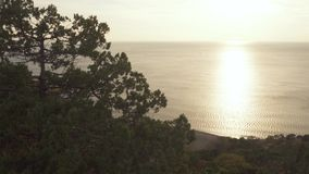 Panorama of the sea from a height stock video footage