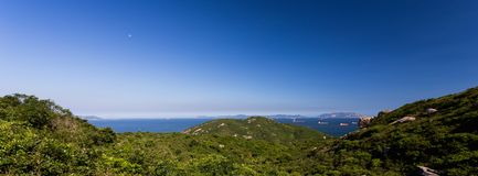 Panorama sea and moon day Royalty Free Stock Photo