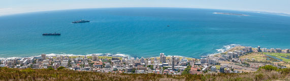 Panorama of Sea Point and Robben Island Stock Photo