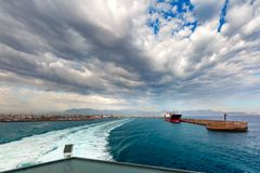Panorama of sea port, Heraklion, Crete, Greece Royalty Free Stock Images