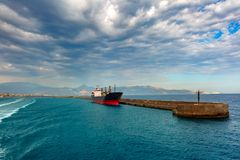 Panorama of sea port, Heraklion, Crete, Greece Royalty Free Stock Photo