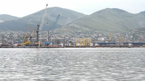 Panorama sea port and waterfront. Novorossiysk, Russian Federation - July 04, 2015: Panorama sea port and waterfront stock video