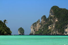 Panorama of the sea and the rocks at the Phi Phi Island, Thailand Royalty Free Stock Photos