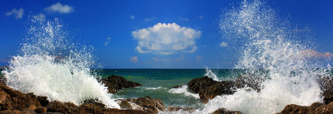Panorama of the sea storm. On tropical island Stock Image