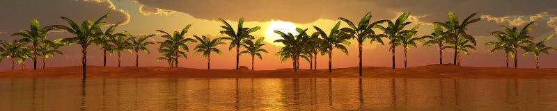 Panorama of sea sunset Stock Photography