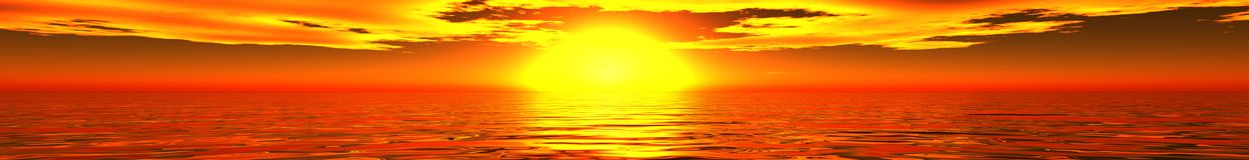 Panorama of sea sunset Stock Photo