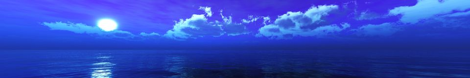 Panorama of the sea sunset Royalty Free Stock Photo