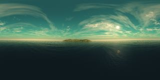 Panorama of the sea sunset over the island Royalty Free Stock Image