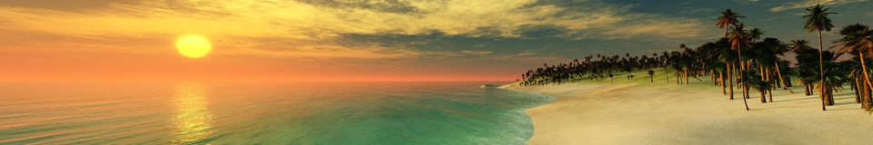 Panorama of the sea sunset over the island Royalty Free Stock Images