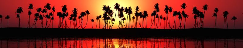 Panorama of sea sunset over a tropical beach Stock Image