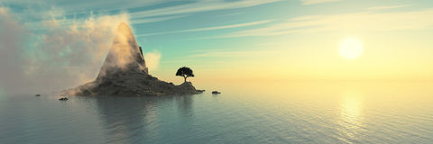 Panorama of sea sunset, the volcano in the ocean Royalty Free Stock Photo