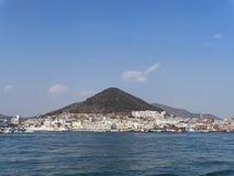 Panorama from the sea to Yeosu city stock photography