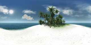 Panorama 360, sea, tropical island, palm trees, sun Stock Photo