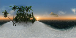 Panorama 360, sea, tropical island, palm trees, sun Royalty Free Stock Images