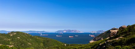 Panorama sea view and big boat Royalty Free Stock Photos